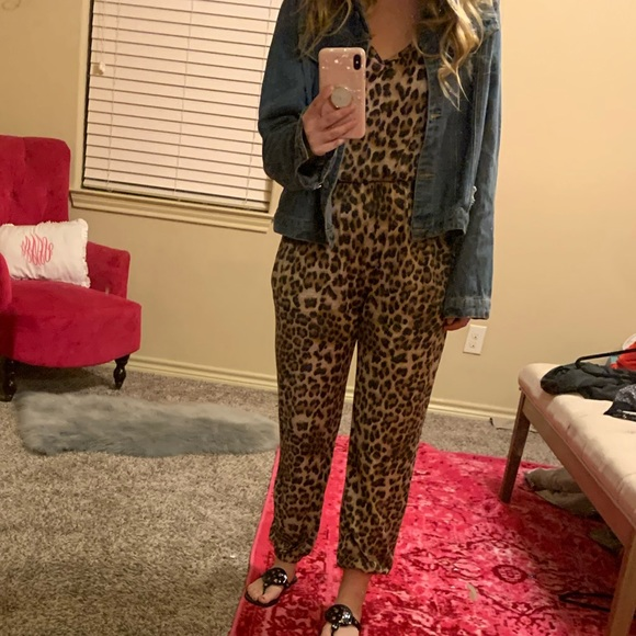 Pants - Cheetah Print Jumpsuit